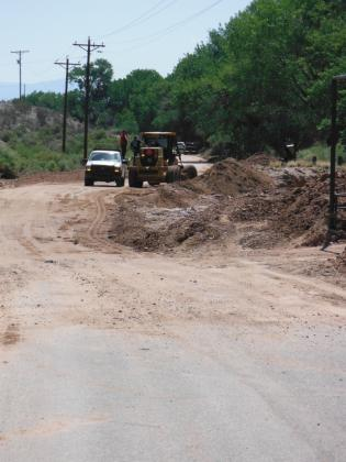 Runoff from several arroyos blocked CR 155 in several locations. One of the worst spots was here, at the Hunt's El Sueno ranch.