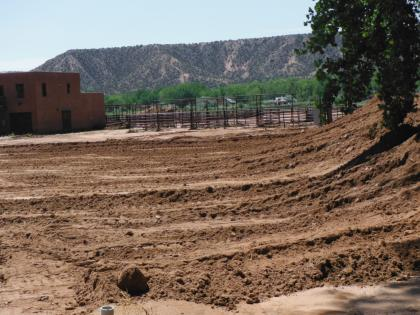 The entrance to El Sueño, after a bulldozer had pushed the mud into a big pile.