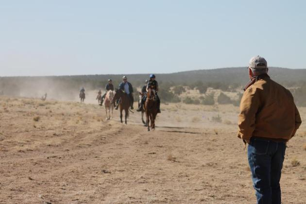 Santa Fe veterinarian Larry Nolen watches horses for lameness as riders approach the Eleven-Hundred well in the Caja del Rio.